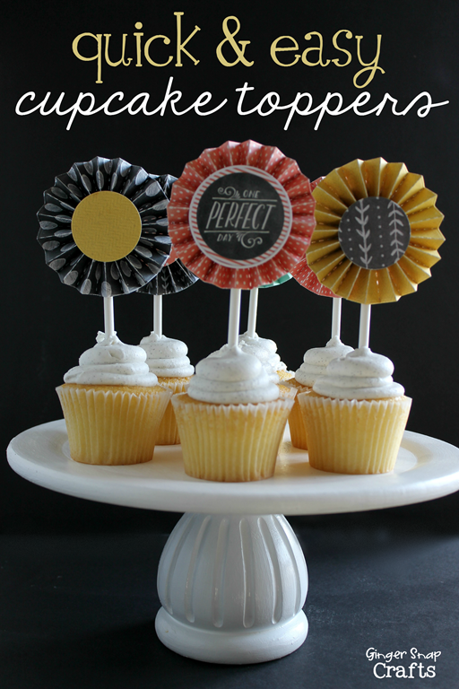 quick & easy cupcake toppers at GingerSnapCrafts.com