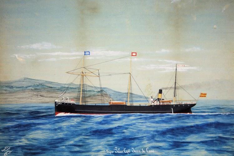 Vapor PILAR. Acuarela de Rude. Del libro HISTOria de la marina mercante asturiana.TOMO II. LLEGADA Y AFIRMACION DEL VAPOR (1857-1900).jpg