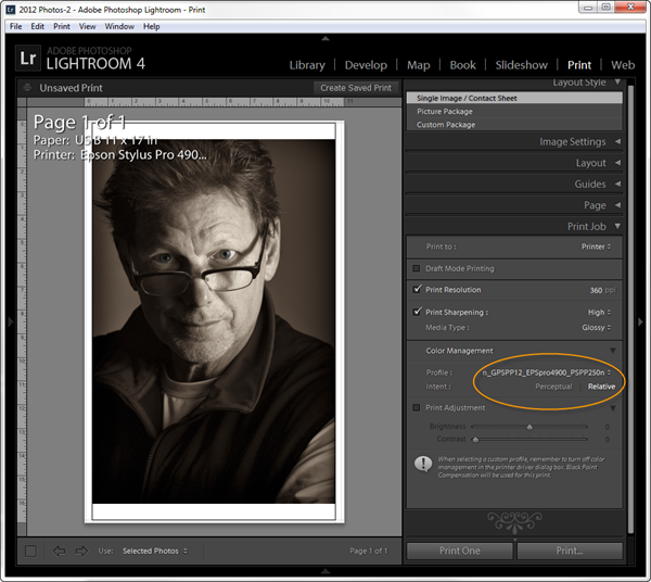 Lightroom 4 Print Settings - Ilford Galerie Prestige Smooth Pearl Paper 310gsm