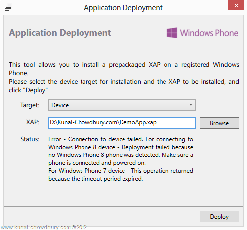XAP Deployment Failure from the WP Application Deployment Tool