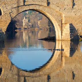 Pont Vieux by Paul Atkinson - Buildings & Architecture Bridges & Suspended Structures ( reflection, structure, winter, beziers, france, architecture, view, bridge, river )