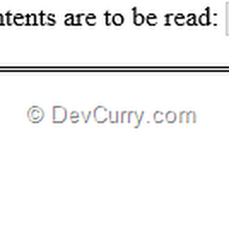 DevCurry: Reading a Local File using HTML5 and JavaScript