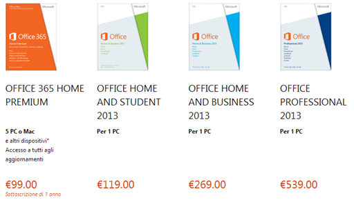 office 2013 prezzi