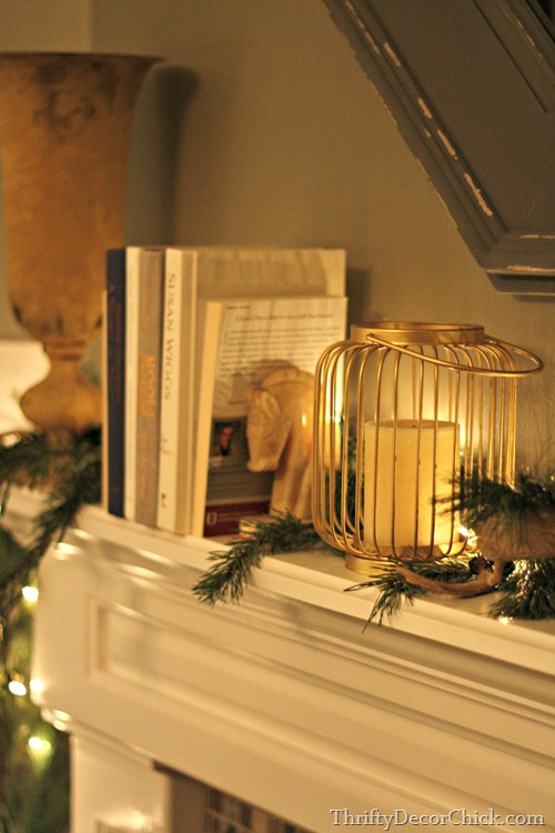Christmas mantel fresh greenery