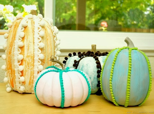 Chalk Paint and Pom Pom Trimmed Pumpkins - The Silly Pearl[4]