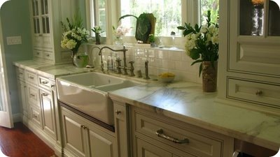 sink, cabinetry, ledge, subway tiles