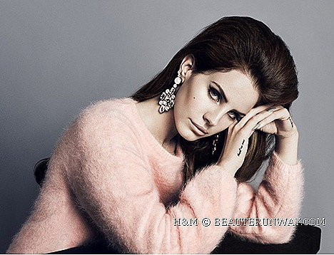 Lana Del Rey H&M Fall Winter 2012 2013 singer H&M pink angora blend sweater, a tweed biker jacket and a tweed figure-hugging faux leather trimmed dress printed leggings Blue Velvet Video Games Born to die