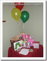 Decorations: Hungry Caterpillar Gift Table
