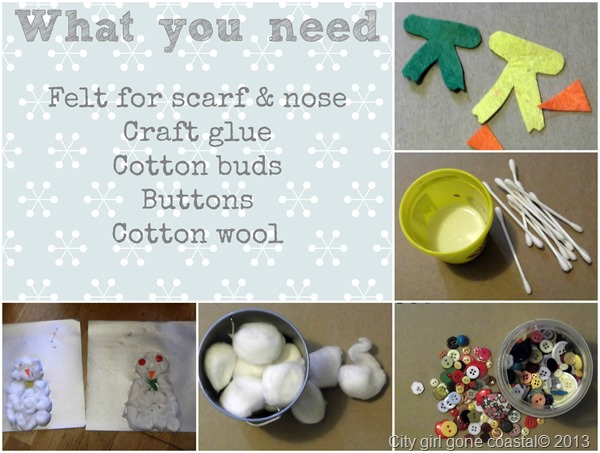 cotton wool ball snowmen what you need