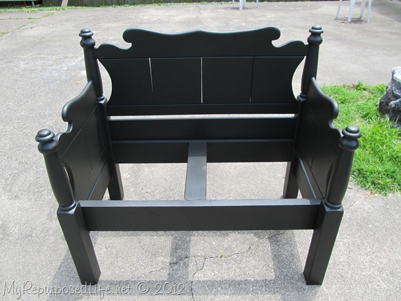 black Twin bed-bench upholstered