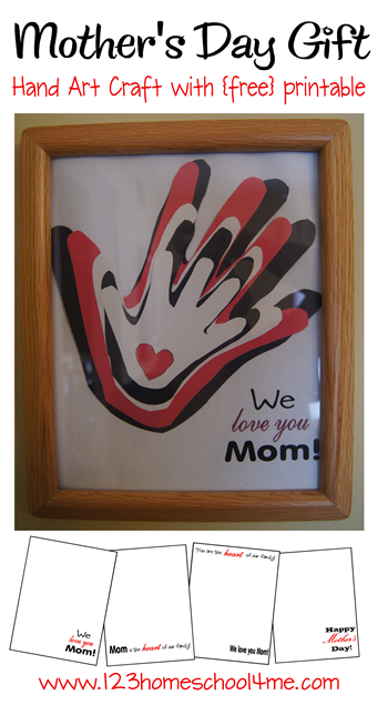 simple Mother's Day Gift - hand art craft with free printable