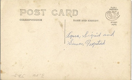 Postcard Agnes Sigrid and Simon Fagstad DL Antiques back