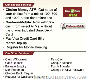 Indusind Bank ATM Features in India | Indian Stock Market