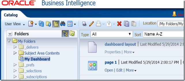 OBIEE 11g dashboard page outside of dashboard