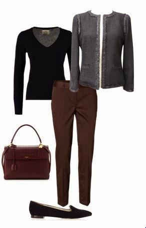 Calças castanhas, camisola preta, jaqueta cinza, sapatos pretos e mala bordeaux