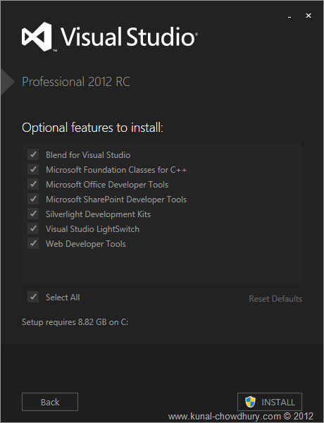 VS2012 Installation Experience - Screen 2 - Features to Install
