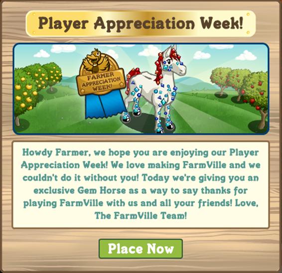 Free Gem Horse: Player Appreciation Week Bonus | Farmville