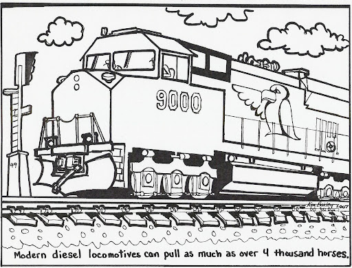 Huge Freight Train Coloring Pages