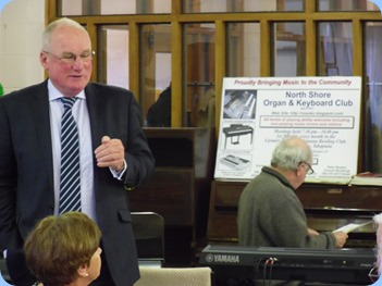 Former North Shore Mayor, George Wood, addresses the members. Mayor Wood was Patron to both St Annes Club for the Blind and the North Shore Organ and Keyboard Club at various times.