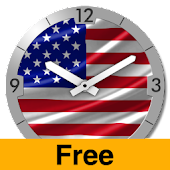 USA Flag Analog Clock Lite