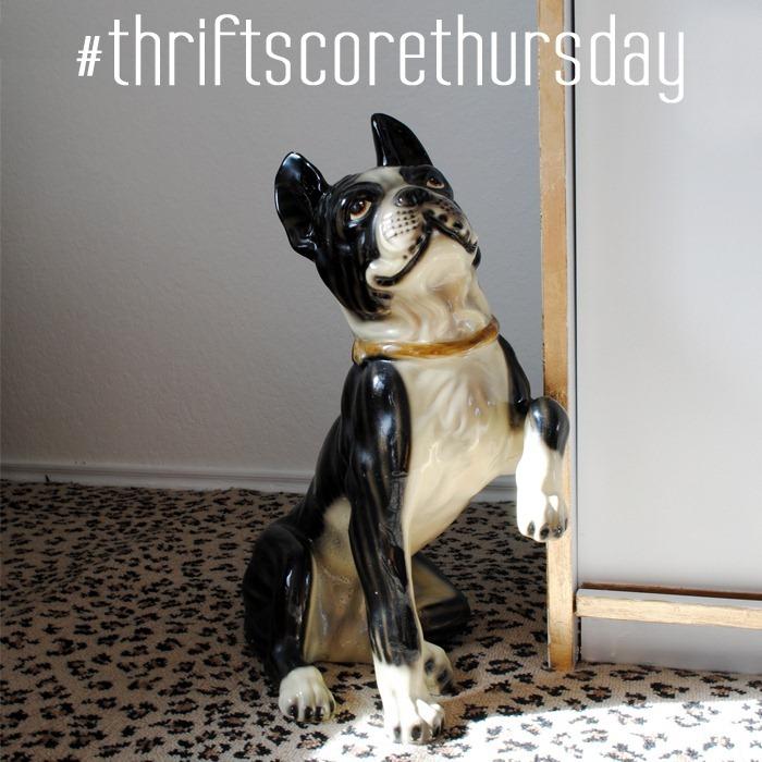 thrift score thursday life size ceramic boston terrier