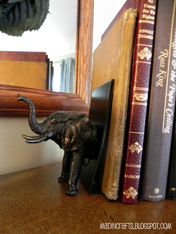 dollar store faux bronze elephant bookend