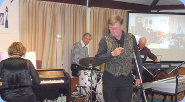 The Music Makers Band in full swing. Left to Right: Carole Littlejohn, Ian Jackson, Len Hancy, and Peter Brophy.