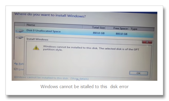 Windows 8 and Windows 7 Installation Error the selected disk