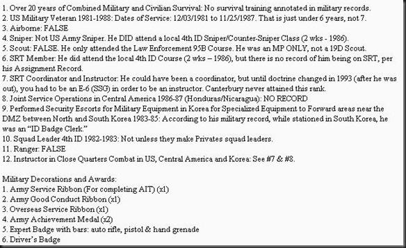 dave canterbury fake military record