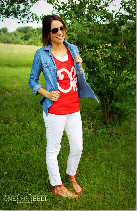 red, white and blue summer outfit from ONE little MOMMA