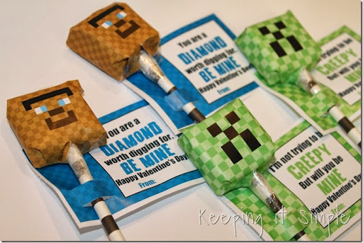 Lovely Minecraft boy valentines