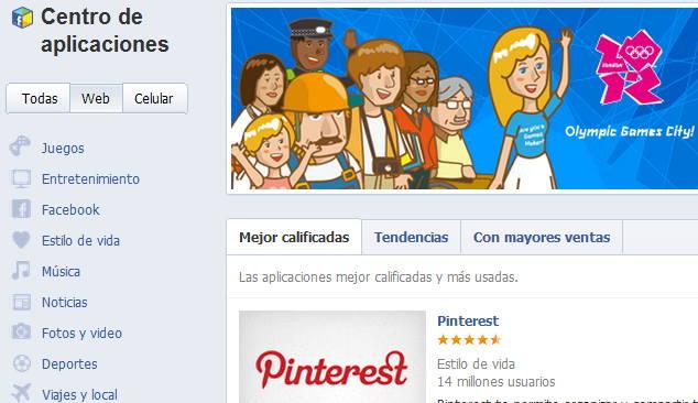 Centro de aplicaciones Facebook