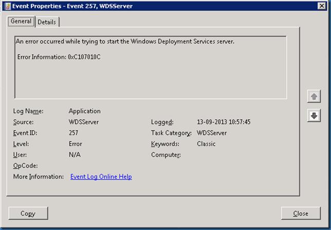 MINDCORE BLOG: Windows Deployment Services error 0xC107010C