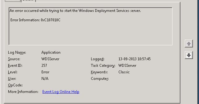 MINDCORE BLOG: Windows Deployment Services error 0xC107010C