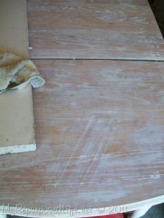 Remove finish by sanding
