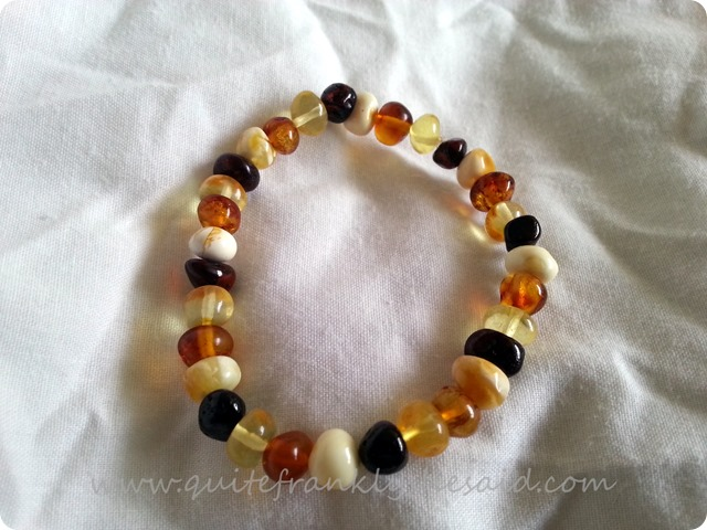 Dino Daisy bracelet stretchy baltic amber multi colour