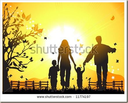 stock-vector-happy-family-walks-on-nature-sunset-11774197