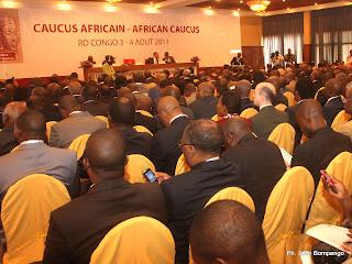 Au salon Congo du Grand Hôtel de Kinshasa ce 03/08/2011, lors de l'ouverture de la réunion des gouverneurs Africains auprès de la banque Mondiale et du fond monétaire International. Radio Okapi/ Ph. John Bompengo