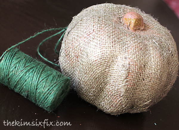 Burlap pumpkin with twine