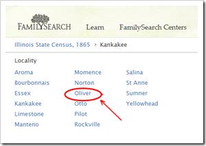 Fumanysearch..org浏览层次结构错误地将GANEER标识为Oliver,伊利诺伊州