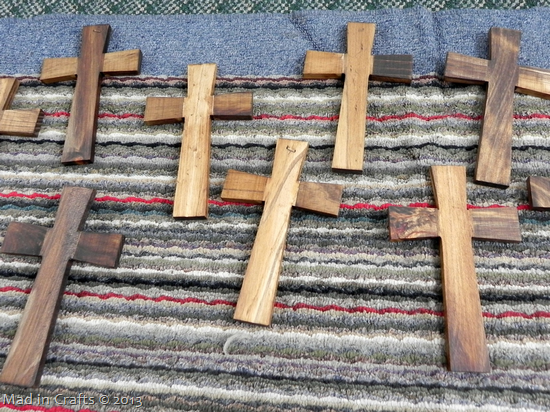 stained wooden crosses