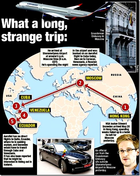 Ed Snowden Map of present & possible fleeing