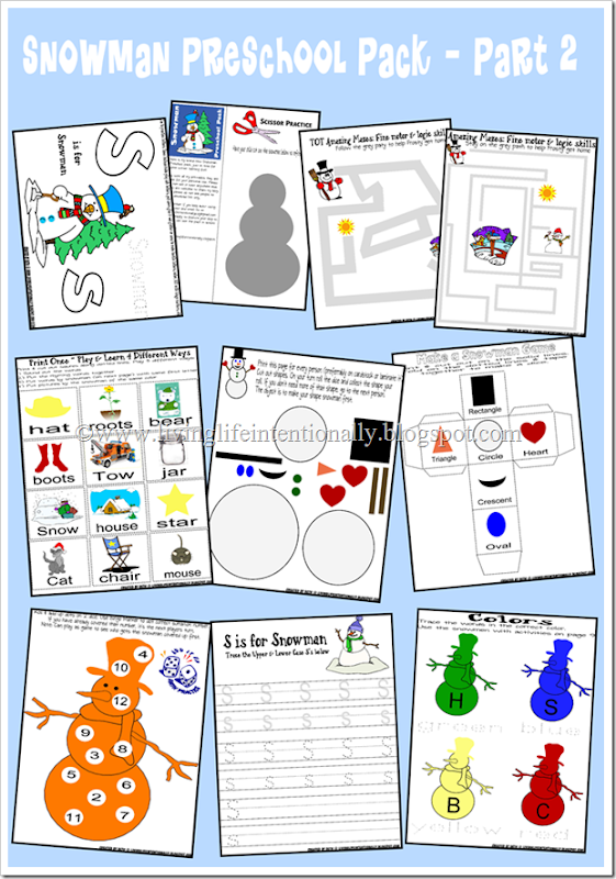 Preschool Worksheets - snowman themed