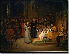 Jeanne d'Arc, en presence de Charles VII, repond aux prelats qui l'interrogent, en annoncant sa mission et les visions qui la lui ont revelee. <br /><br />Joan of Arc, in the presence of Charles VII, King of France, answers the questions of the prelates; she anounces her mission and the visions which have revealed her task.<br /><br />Canvas, 142 x 167 cm<br /><br /><br /><br /><br /><br />