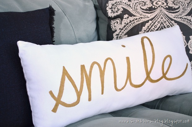gold painted pillow