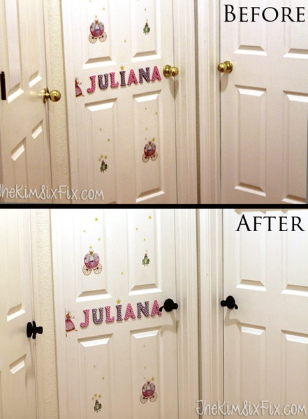 Hall door handles before and after