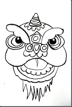 Smart class chinese new year lion dancers for Chinese dragon face template