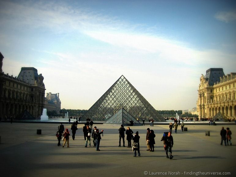 Louvre pyramid and tourists Paris