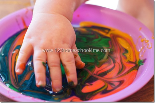 baby edible finger paint color mixing