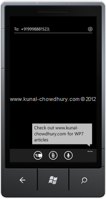 Screenshot 1: How to Compose SMS in WP7 using the SmsComposeTask?